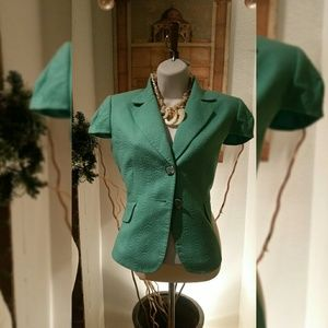 Tahari teal lined jacket